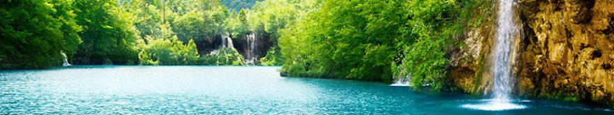 Изображение для стеклянного кухонного фартука, скинали: природа, лес, водопад, река, fartux1213