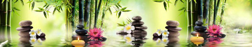 Изображение для стеклянного кухонного фартука, скинали: цветы, бамбук, камни, спа, свечи, fartux1222