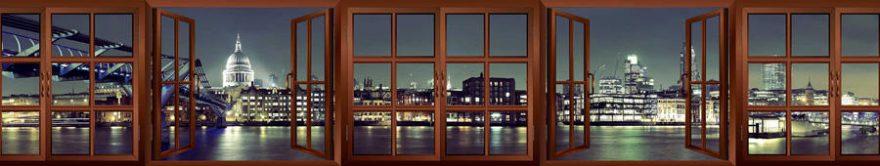 Изображение для стеклянного кухонного фартука, скинали: ночь, город, архитектура, окно, fartux1232