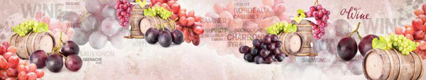 Изображение для стеклянного кухонного фартука, скинали: бочка, виноград, fartux1238