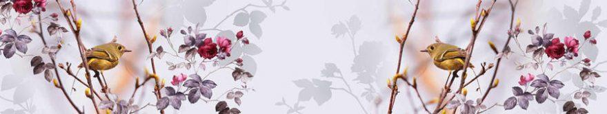 Изображение для стеклянного кухонного фартука, скинали: цветы, птицы, ветки, fartux1243