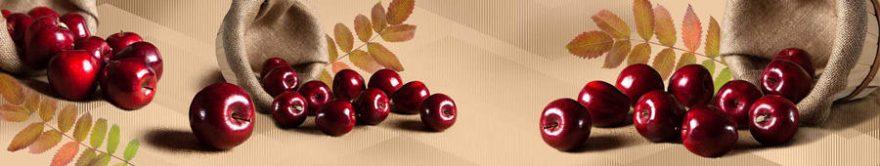 Изображение для стеклянного кухонного фартука, скинали: корзина, фрукты, яблоки, fartux1245