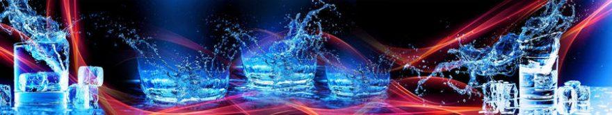 Изображение для стеклянного кухонного фартука, скинали: вода, лед, стаканы, fartux1246