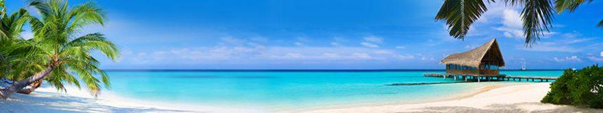 Изображение для стеклянного кухонного фартука, скинали: море, пальмы, пляж, fartux1247