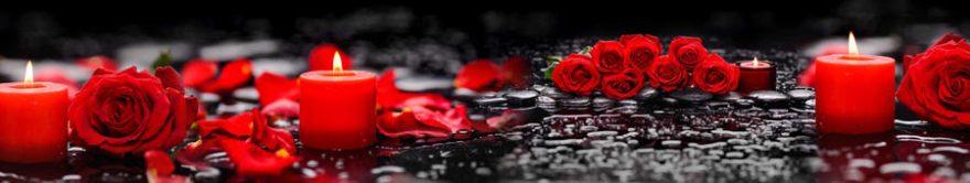 Изображение для стеклянного кухонного фартука, скинали: цветы, розы, свечи, fartux1248