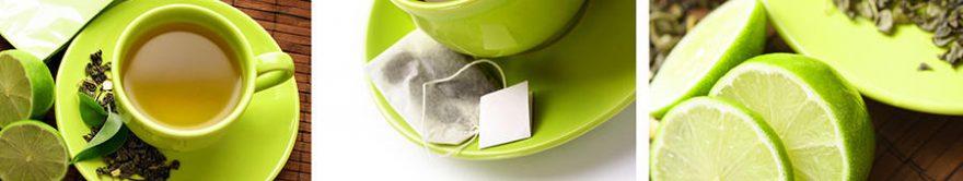 Изображение для стеклянного кухонного фартука, скинали: чай, коллаж, лайм, кружка, fartux1249