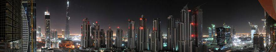 Изображение для стеклянного кухонного фартука, скинали: ночь, город, небоскребы, fartux1255