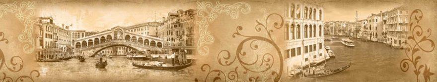 Изображение для стеклянного кухонного фартука, скинали: город, архитектура, лодки, винтаж, fartux1260