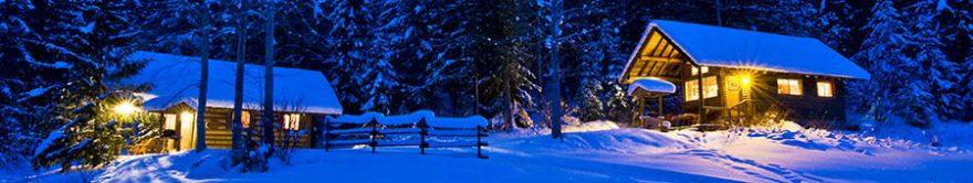 Изображение для стеклянного кухонного фартука, скинали: зима, снег, лес, ночь, дом, fartux1264