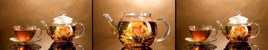 Изображение для стеклянного кухонного фартука, скинали: посуда, чай, коллаж, кружка, чайники, fartux1276