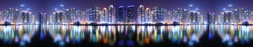 Изображение для стеклянного кухонного фартука, скинали: ночь, город, небоскребы, fartux1279