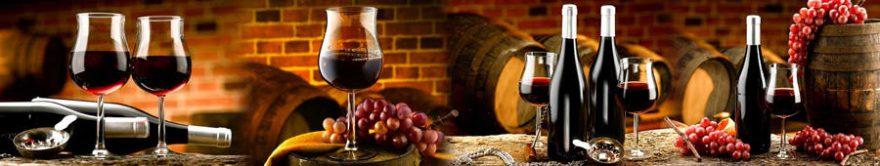 Изображение для стеклянного кухонного фартука, скинали: вино, бочка, виноград, бутылка, бокал, fartux1284