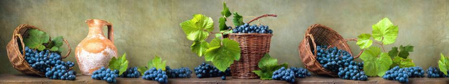 Изображение для стеклянного кухонного фартука, скинали: корзина, виноград, fartux1285