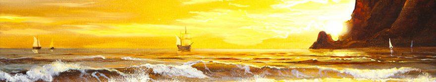 Изображение для стеклянного кухонного фартука, скинали: море, корабль, волны, fartux1286