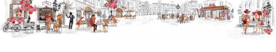 Изображение для стеклянного кухонного фартука, скинали: город, архитектура, люди, улица, винтаж, fartux1299