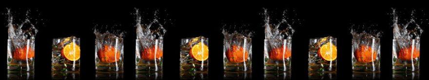 Изображение для стеклянного кухонного фартука, скинали: вода, фрукты, стаканы, fartux1310