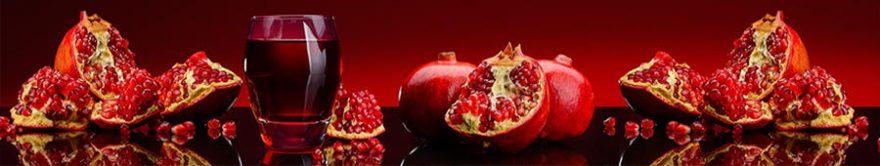 Изображение для стеклянного кухонного фартука, скинали: фрукты, стаканы, гранаты, fartux1332