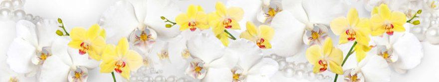 Изображение для стеклянного кухонного фартука, скинали: цветы, орхидеи, жемчуг, fartux1334