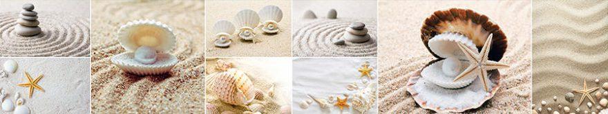 Изображение для стеклянного кухонного фартука, скинали: камни, коллаж, ракушки, песок, fartux1350