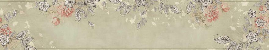 Изображение для стеклянного кухонного фартука, скинали: цветы, орнамент, fartux1365