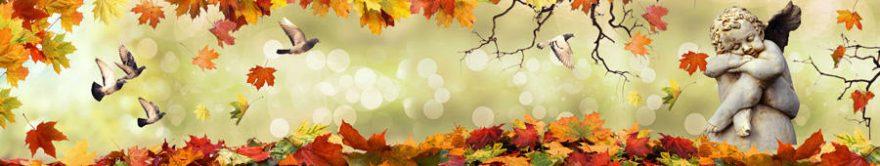 Изображение для стеклянного кухонного фартука, скинали: листья, птицы, статуя, fartux1370