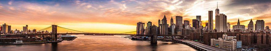 Изображение для стеклянного кухонного фартука, скинали: закат, город, мост, небоскребы, fartux1377