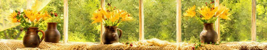 Изображение для стеклянного кухонного фартука, скинали: цветы, ваза, лилии, окно, fartux1379
