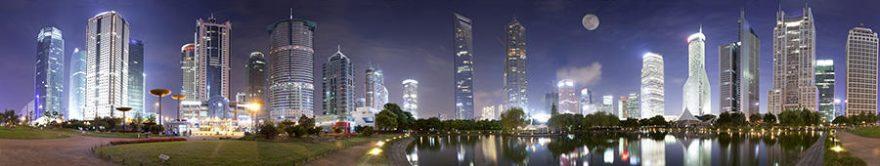 Изображение для стеклянного кухонного фартука, скинали: ночь, город, небоскребы, fartux1380