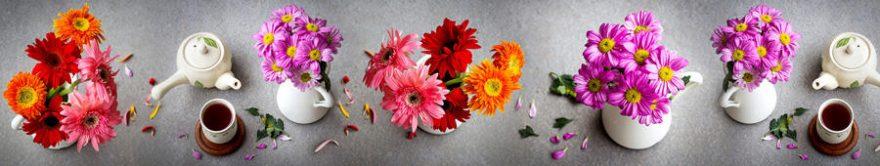 Изображение для стеклянного кухонного фартука, скинали: цветы, ваза, посуда, герберы, fartux1391