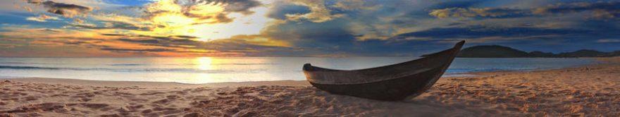 Изображение для стеклянного кухонного фартука, скинали: закат, море, пляж, лодки, fartux1403