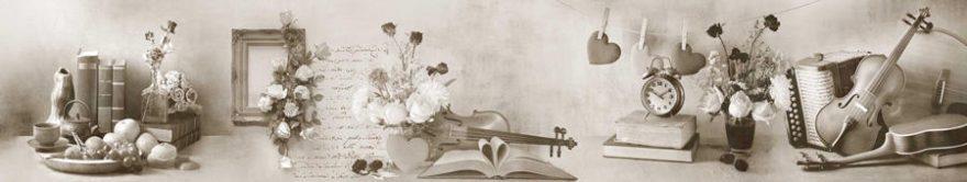 Изображение для стеклянного кухонного фартука, скинали: цветы, книга, винтаж, fartux1407