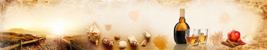 Изображение для стеклянного кухонного фартука, скинали: коллаж, стаканы, бутылка, ракушки, fartux1411