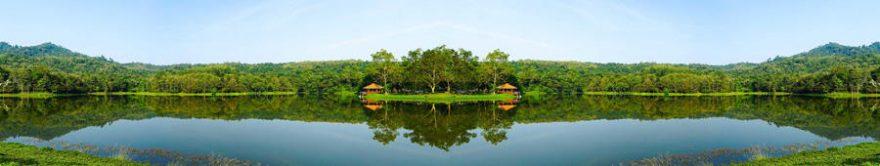 Изображение для стеклянного кухонного фартука, скинали: природа, лес, озеро, fartux1421