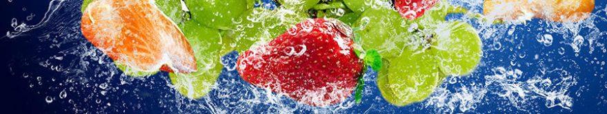 Изображение для стеклянного кухонного фартука, скинали: вода, фрукты, ягоды, fartux1427