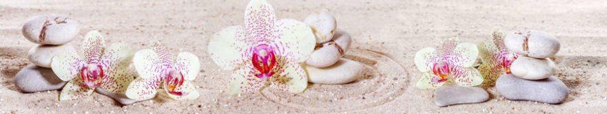 Изображение для стеклянного кухонного фартука, скинали: цветы, орхидеи, камни, fartux1428