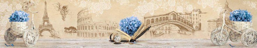 Изображение для стеклянного кухонного фартука, скинали: цветы, город, винтаж, fartux1438