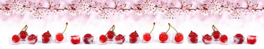 Изображение для стеклянного кухонного фартука, скинали: цветы, ягоды, вишня, лед, fartux1446