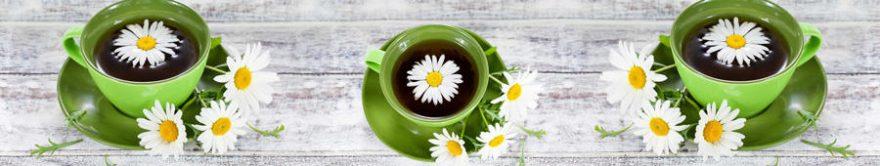 Изображение для стеклянного кухонного фартука, скинали: цветы, чай, ромашки, кружка, fartux1450