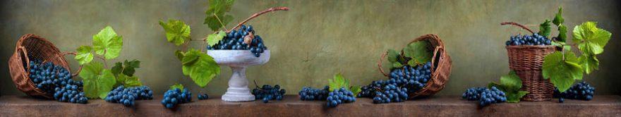 Изображение для стеклянного кухонного фартука, скинали: ваза, корзина, виноград, fartux1452