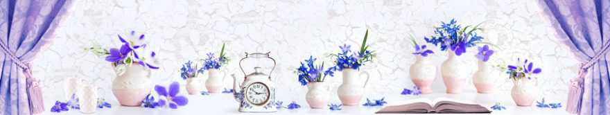 Изображение для стеклянного кухонного фартука, скинали: цветы, ваза, fartux1470