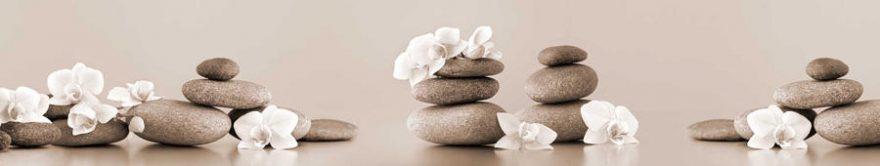 Изображение для стеклянного кухонного фартука, скинали: цветы, орхидеи, камни, fartux1479