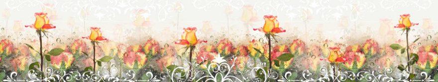 Изображение для стеклянного кухонного фартука, скинали: цветы, розы, орнамент, fartux1491