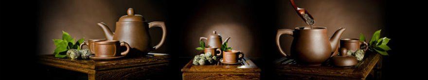Изображение для стеклянного кухонного фартука, скинали: посуда, чай, кружка, чайники, fartux1505