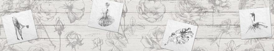 Изображение для стеклянного кухонного фартука, скинали: цветы, винтаж, fartux1509