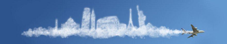 Изображение для стеклянного кухонного фартука, скинали: небо, самолет, fartux1530