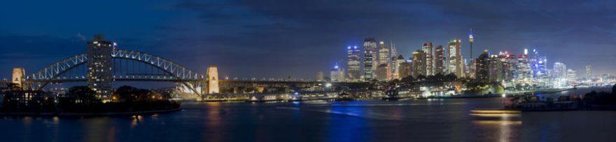 Изображение для стеклянного кухонного фартука, скинали: ночь, город, мост, небоскребы, fartux1534