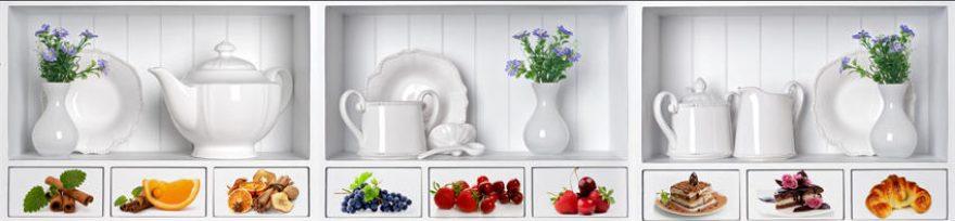 Изображение для стеклянного кухонного фартука, скинали: цветы, посуда, коллаж, ягоды, еда, fartux1559