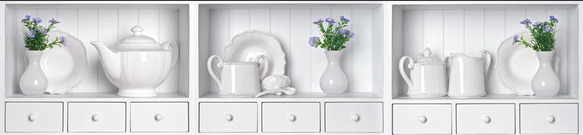 Изображение для стеклянного кухонного фартука, скинали: цветы, посуда, коллаж, fartux1560