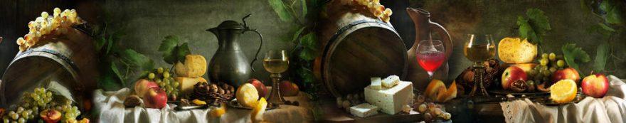 Изображение для стеклянного кухонного фартука, скинали: фрукты, вино, бочка, виноград, бокал, еда, fartux1561