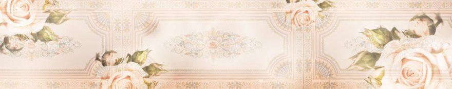 Изображение для стеклянного кухонного фартука, скинали: цветы, розы, орнамент, fartux1563